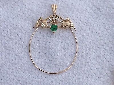 14K Claddah Charm Holder Pendant With Heart Shaped Green Stone