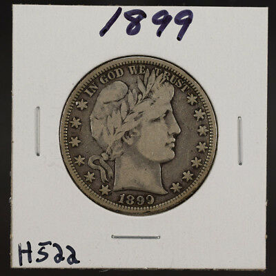 1899 50c SILVER BARBER HALF DOLLAR LOT#H522