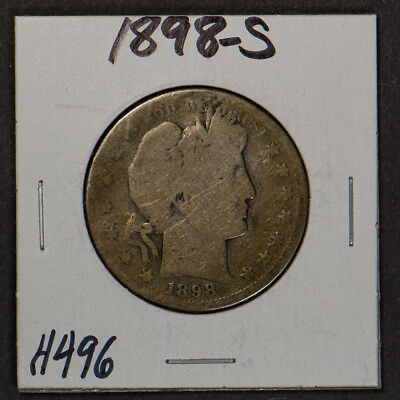 1898-S 50c SILVER BARBER HALF DOLLAR LOT#H496