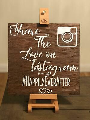 Wooden Wedding Signs.Personalised Rustic Wooden Wedding Signs Vinyl Instagram Hashtag 30x30cm