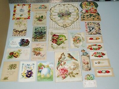 LARGE LOT OF VINTAGE POST CARDS GREETING VALENTINES EASTER Poem Book Calendar