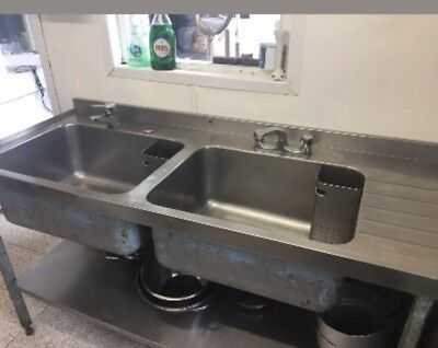 Commercial Double Sink Unit Stainless Steel 1840mm x 665mm