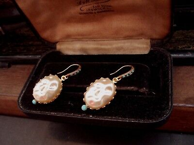 Vintage Baroque Pearl Drop Pierced Earrings with Turquoise Crystals