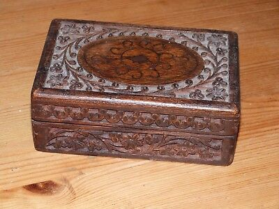 """Vintage hand carved mahogany jewelry or other box. 6"""" x 4 x 2.25"""". Lovely"""