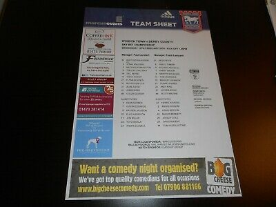 IPSWICH TOWN  v  DERBY COUNTY  2018/19  FEB 13th  COLOUR TEAM SHEET *FREE POST*