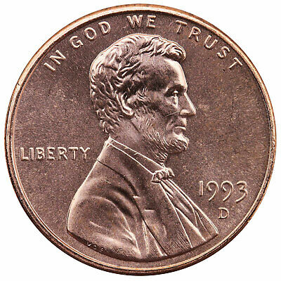 1993 D Lincoln Memorial Cent Choice BU Penny US Coin