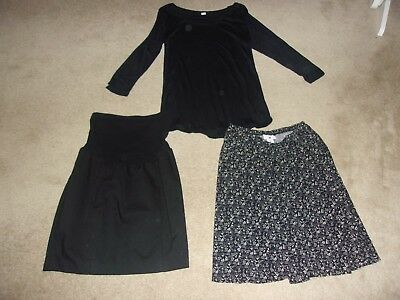 3 pc LOT L (12-14) Maternity items a New Old Navy Top, and 2 pre-owned skirts