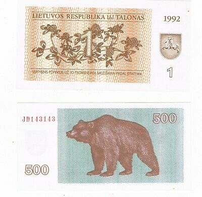 1992 1 talons & 500 talons lithuania bank notes unc