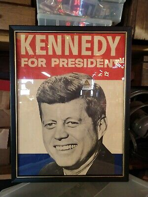 Vintage Kennedy For President Framed Poster