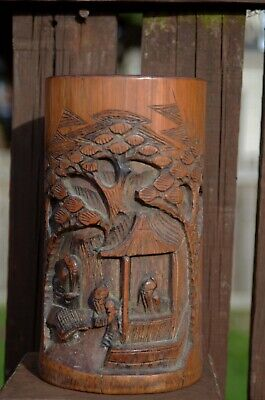 Antique Chinese Figural Carved Bamboo Brush Pot