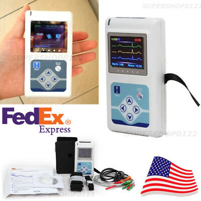 US Fedex 24 Hours record 3-lead Dynamic Holter ECG PC software Arrhythmia analys