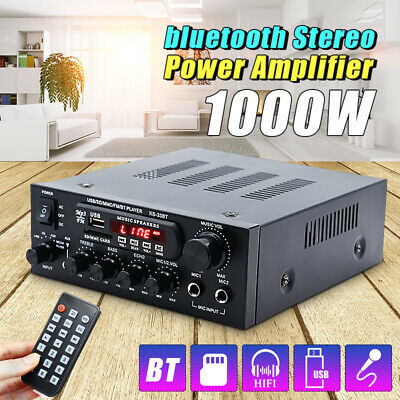1000W 12V DC bluetooth Stereo LED Digital Amplifier HiFi USB SD Aux FM Radio