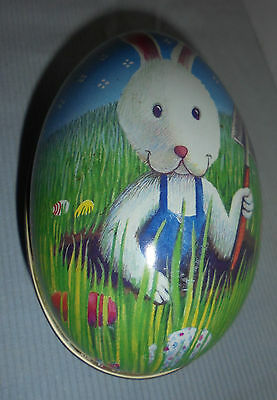 """Tin Easter Egg With Easter Bunny, Eggs, Shovel, Grass, Large 5""""x3"""""""