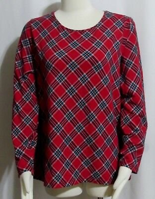 New Womens Ladies ANN TAYLOR PETITE Red & Teal Plaid Cotton Stretch  Tee Top 2XP