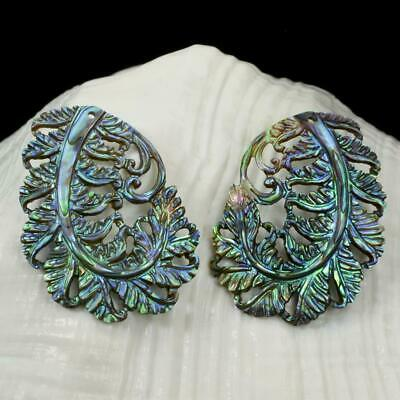 Multicolor Paua Abalone Shell Iridescent Carved Fern Leaves Earring Pair 4.53 g