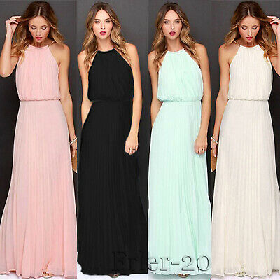 US Women Long Chiffon Sleeveless Cocktail Formal Party Prom Ball Gown Maxi Dress