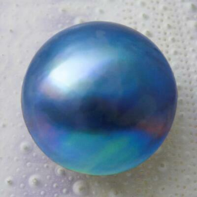 14.63 mm Blue Mabe Pearl Iridescent Rainbow Cultured in Sumbawa Indonesia 1.22 g