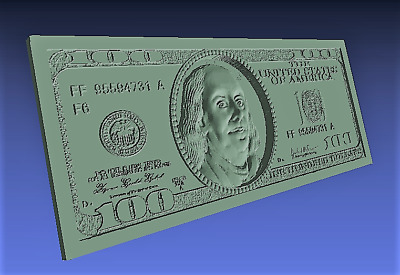 100 Dollars 3d model relief for cnc in STL file format