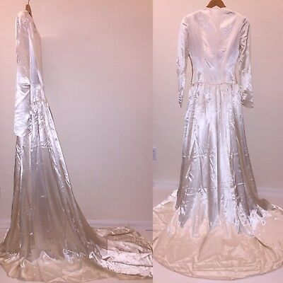 1940s Vintage Ivory Satin Wedding Dress Long Train Excellent 36/38 bust 26 waist