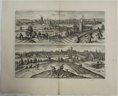 Tours & Angers France 1598 Braun & Hogenberg Unusual Antique Engraved City Views