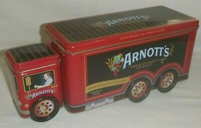 Arnott's Red Truck Tin  A-142 Moving Wheels
