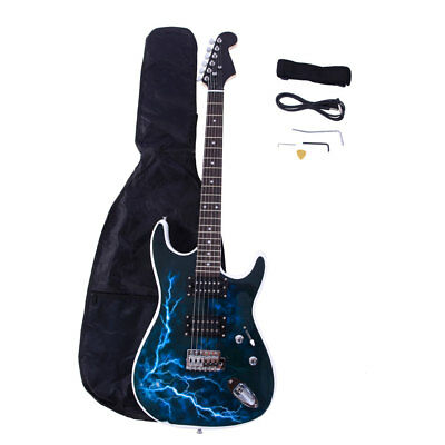 New Practice Beginner Lightning Style Electric Guitar with Bag Black & White