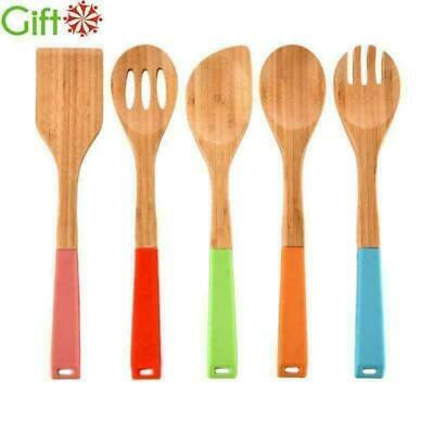 6 Set of Bamboo Kitchen Cooking Utensils Spoon Spatulas With Silicone Handle