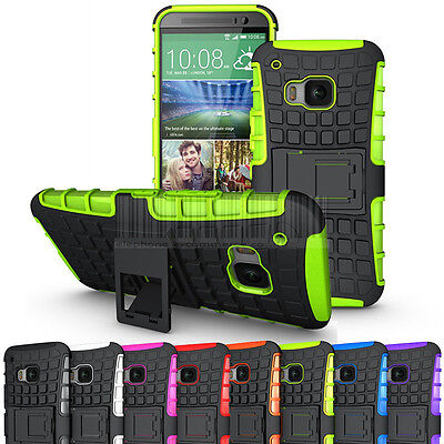 Rugged Armor Hard Shockproof Hybrid Stand Case Slim Rubber Cover For HTC One M9