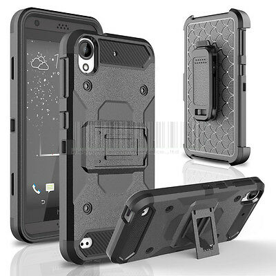 Hybrid Shockproof Armor Holster Case Stand Cover Belt Clip Fr HTC Desire 530 555