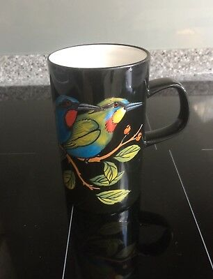 Dunoon Black Panama Mug Exotic Colourful Birds Gilded Made in Scotland 12cm Tall