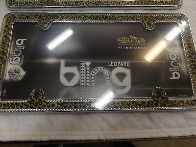 Leopard Bling Metal License Plate Frame - Chrome/Gold -Cruiser Accessories