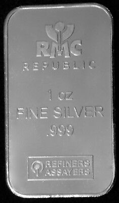 1 Oz Silver Bar - Republic Metals Corp (Rmc) .999 Fine