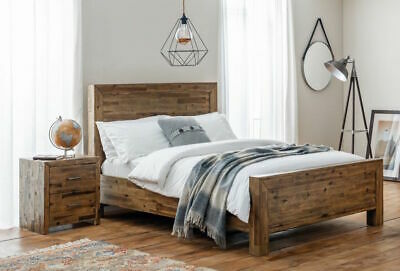 Rustic Wood Bed Frame Industrial Look Double, King Size Available
