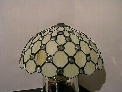 VINTAGE lampshade period post-victorian style tiffany mother of perl glass D36cm