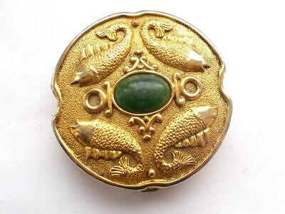 Vintage 1950's Gold Tone Fish Green Glass Cabochon Powder Mirror Compact -Signed