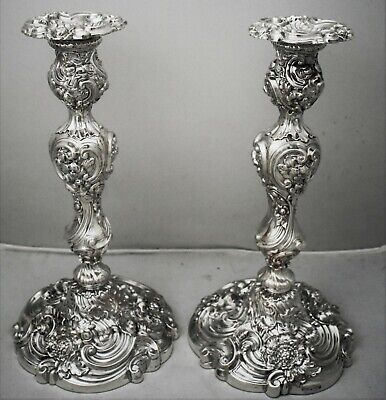 """Superb pair GEORGE IV sterling silver HIGH ROCOCO candlesticks. 1823 11.5"""""""