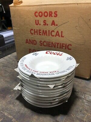 1/4 Case 24 qty Vintage 1970's Coors Beer Company Promotional Ceramic Ashtrays