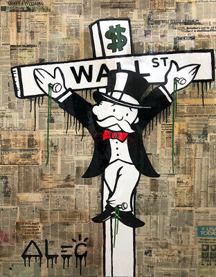 Alec Monopoly Oil Painting on Canvas graffiti art decor Wall Street 28x36""