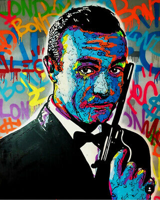Alec Monopoly Oil Painting on Canvas graffiti art James Bond Portrait 28x36""