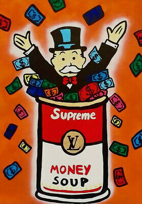 Alec Monopoly Oil Painting on Canvas Graffiti art Campbell's Money Soup 28x40""