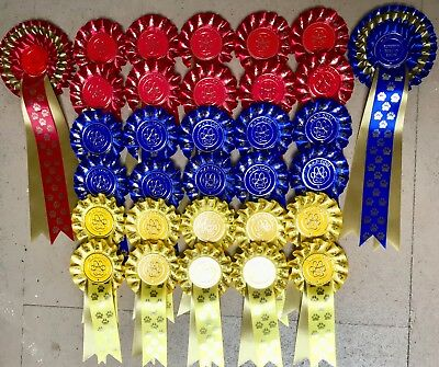 Dog Show Rosettes 10 x 1st to 4th single PAWS plus BIS & RBIS 3 tier PAWS