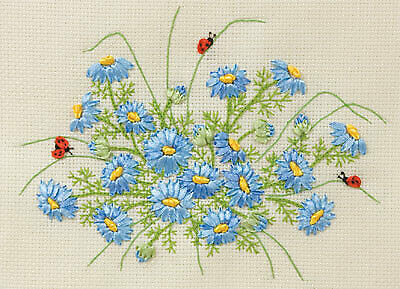 Blue Daisies with Ladybirds - Panna Ribbon Embroidery Kit C-1102