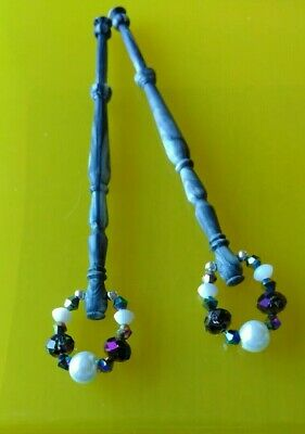 Pair of Grey Varigated Plastic Lace Bobbins. Spangles of Pearl White & Purple.