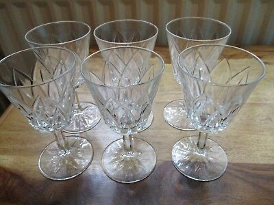Set Of Six Vintage / Retro Crystal Cut / Glass ,sherry / Small  Wine Glasses.