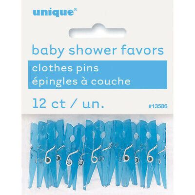 """12 x 1"""" Blue Plastic Clothes Pegs Baby Shower Favours Gender Reveal Party Boys"""