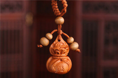 Wood 3D Carving Chinese Wealth Moneybag Statue Sculpture Pendant Key Chain