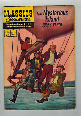 CLASSICS ILLUSTRATED COMIC No. 34 The Mysterious Island - 15c  HRN 140