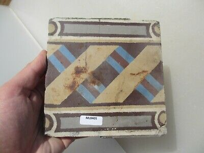 Victorian Ceramic Floor Tile Terracotta Antique 1800s Vintage Old Floral Belgium