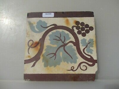 Victorian Ceramic Floor Tile Terracotta Antique 1800s Vintage Old Floral Grapes