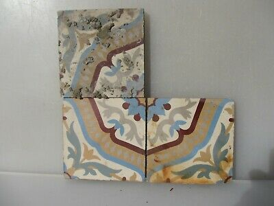 Victorian Ceramic Floor Tile Terracotta Antique 1800s Vintage Old Floral Flowers